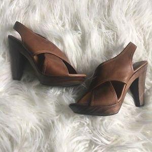 ALDO Sz38 VTG Style Open Toe Cross Leather Heels